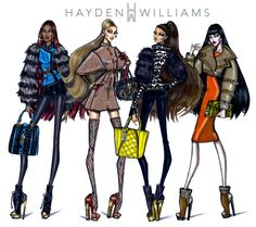 Williams Fashion Illustrations: collection by Hayden Williams Fashion Prints, Fashion Art, Editorial Fashion, Trendy Fashion, Hayden Williams, Summer Grunge, Outfits Otoño, Stage Outfits, Fashion Sketchbook