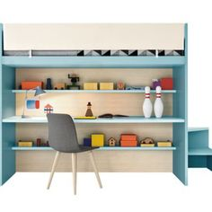 Perfect for a smaller teenage room - this loft bed has storage and a desk
