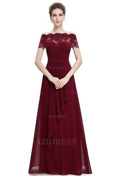 A-Linie/Princess-Linie Carmen-Ausschnitt Bodenlang Chiffon Abendkleider
