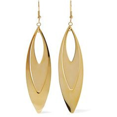 Kenneth Jay Lane - Gold-tone Earrings (€20) ❤ liked on Polyvore featuring jewelry, earrings, accessories, gold, gold earrings, gold earrings jewelry, gold tone earrings, gold jewelry and colored gold jewelry