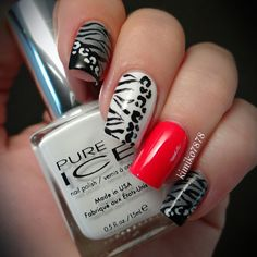Black And White Animal Print Nails With Red Accent