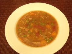 I clipped this recipe years ago and adapted it to use my leftover beef roast and steaks.  Just chop up any leftover beef, throw it in a freezer bag and store until you have enough to make the soup.  Also, save your leftover broth.  It really makes the soup rich and flavorful.  Great for a cold winter day!