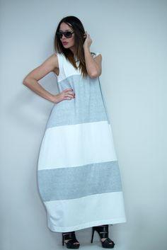 White with Light Grey Loose Summer Dress, Long women dress, Loose Maxi Dress, Plus Size Dress design by EUGfashion - DR0552TR by EUGfashion on Etsy