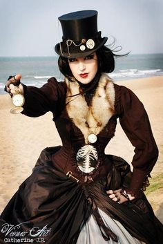 Steampunk, winter on the beach.