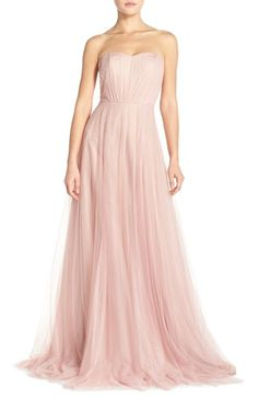 Monique Lhuillier Bridesmaids Strapless Tulle Gown available at #Nordstrom