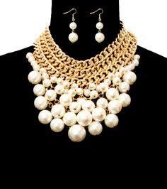 Pearl Choker Bib Necklace