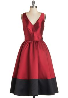 Picture Perfection Dress in Rouge. The sight of you in this tea-length dress invokes the same appreciation one feels while admiring a radiant painting. #red #modcloth