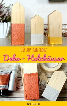 Deko DIY: Holzhäuser aus Kantholz einfach selbermachen. Wer will, lackiert die guten Stücke mit Acrylfarben in Kupfer, Gold oder Silber. Ein wunderschönes selbstgemachtes Geschenk für die Lieben oder als Deko für dein Zuhause.  #clarki  #deko #holz #herbstdeko #selbermachen #diy Bamboo Cutting Board, Gold, Diy, Crafting, Yellow