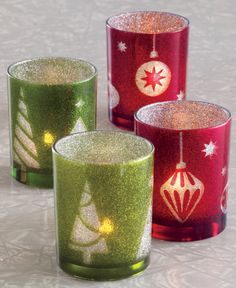 green and red glitter tea light candle holders: Christmas decor