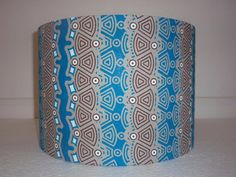 Turquoise brown tribal Handmade 30 cm Drum Lampshade Ankara African by AnkaraLampshades fabric lampshade  #lighting -  tribal pattern,  #lampshade  #ankara accessories