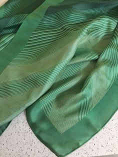 """Vintage Echo Silk Scarf Green Stripes 26"""" Square Mid Century Accessory Gift  #Echo #Scarve #Business"""