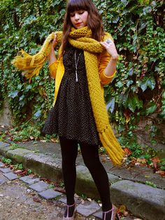 spring, autumn, mustard scarf, knit, polka dot dress, t bar heels, fringe, hairstyle, fashion, outfit, cute, style