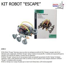 """KIT ROBOT  """"ESCAPE"""" El Kit Robot """"Escape"""" funciona como un robot con inteligencia artificial (IA). Siempre consigue salir de los  laberintos más complic ados. El Robot """"Escape"""" utiliza 3 diodos de emisión IR y 1 módulo de recepción IR para la  emisión y la recepción de señales y la detección de obstáculos.  El Robot """"Escape"""" está provisto de un microprocesador incorporado que permite al robot """"pensar"""" de forma  autónoma: reúne y trata informaciones sobre su entorno, lo que le permite evitar… Robot, Kit, Shape, Artificial Intelligence, Labyrinths, Going Out, It Works, Robotics, Robots"""