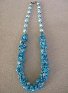 Turquoise and pearl necklace turquoise necklace beaded