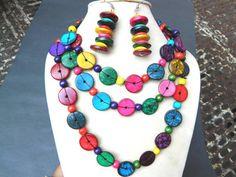 Wood Beads-Wood beads Necklace-Multicoloured Painted wood beads-Handmade.