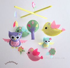 "Baby Mobile - Baby Crib Mobile - Mobile - Crib mobiles - Felt Mobile - Nursery mobile - "" Lavender Owls and Bird "" design"