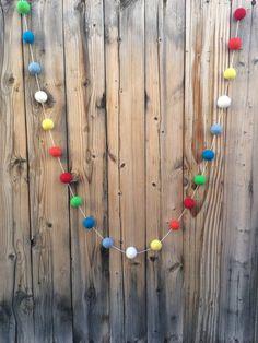 Birthday Felt Ball Garland Pom Pom Garland by TheFickleFeltTree