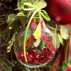 I like the idea of filling glass balls with jingle bells, sparkly beads, etc. to add color.