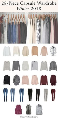My Winter 2017-2018 Capsule Wardrobe - see all the clothes in my closet and the shoes, outerwear and scarf accessories I'll be wearing thi season. I always have many outfits from the outfit ideas, using tops like a tee, sweater, cardigan, tunic, vest and jeans and leggings.