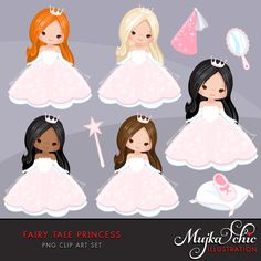❘❘❙❙❚❚ ON SALE 50% OFF ❚❚❙❙❘❘     Fairy Tale Princess Clipart This beautiful clipart set features pink fairy tale princess characters in 5 different hair and skin colors. Princess carriage, horse, mirror, frog prince, princess shoe, princess tiara, fairy castle, magic wand, princess hat graphics included. Perfect for invitations, planner stickers, party printables and embroidery.  Contains 14 high quality Cliparts Format: 300 DPI transparent PNG files Size: Most cliparts are saved around 6,7…