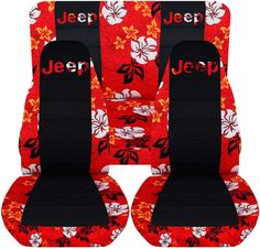 Jeep Wrangler TJ (1997 to 2006) Hawaiian and Black Seat Covers with Jeep: Red - Full Set (4 Prints Available)