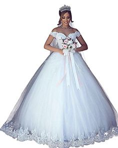 578b77b08ed7 VinBridal 2018 Off Shoulder Ball Gown Wedding Dress Lace Applique Bridal  Gown Ivory 4