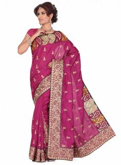 Mesmerizing Magenta Color Based Patch Embroidered #Saree