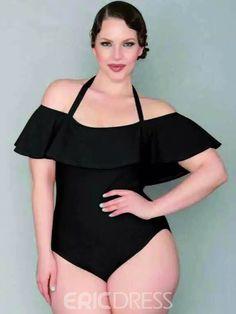 4e899219169 Ericdress Plain Falbala Velvet Plus Size Swimwear Curvy Swimwear, Monokini  Swimsuits, Plus Size Swimwear