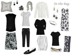 A travel capsule wardrobe in black, white, and grey, for Paris