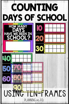 """Count the Days of School using ten frames!  Count up to the 100th day, or all the way to the end of the year - days go up to 180.  Also includes """"How Many Days Have We Been in School?"""" sign - use a dry erase marker to fill in the number of days! When using in the classroom I have the students add themed stickers each day! You could also laminate and have them use a dry erase marker, to be able to re-use each year. Calendar Activities, How Many Days, School Signs, Back To School Activities, Ten Frames, Dry Erase Markers, 100th Day, Bright Colors, Counting"""