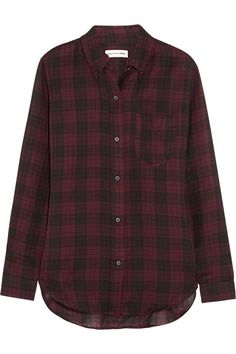 Étoile Isabel Marant $255 Ipa plaid cotton-twill shirt EDITORS' NOTES & DETAILS Étoile Isabel Marant's grunge-inspired plaid shirt is cut from super soft, lightweight cotton-twill. This versatile piece has a button-down collar and makes a great choice for layering.  Burgundy and black cotton-twill Button fastenings through front 100% cotton Machine wash or dry clean