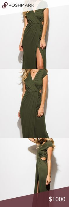 """~SIDE SLIT MAXI SUN DRESS~ ~This cap sleeve maxi dress is as comfy as it is stunning!~  ~A-line silhouette design, side cutouts, and cap sleeves~  ~Super soft Jersey material gathered in the front to make a sexy slit~  ~Unlined. Stretchy.~  ~95% Rayon ~5% Spandex  ~Our model is 5'9""""  ~Chest is 32 C ~Waist is 24"""" ~Hips are 34""""  ~Modeling a size small~  ~Please feel free to ask any questions you may have~  ~Reserving in the comment section below~xoxo Dresses Maxi"""