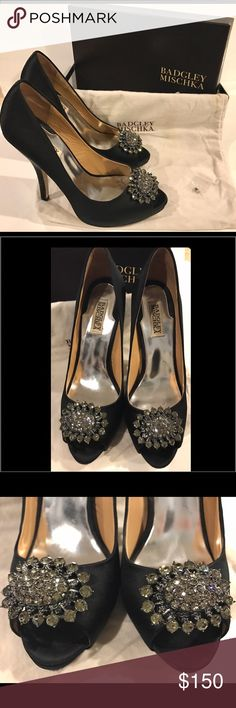 """Badgley Mischka Lissa peep toe heels Badgley Mischka Lissa peep toe heels.  Stunning black satin with jeweled petal design on toes.  4"""" heel.  Absolutely gorgeous and amazing condition!  These were worn once to a wedding.  Comes with dust bag, box, and extra rhinestones.  Purchased at Bloomingdales for $250 Badgley Mischka Shoes Heels"""