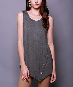 Look at this 42POPS Charcoal Button Sidetail Tunic on #zulily today!