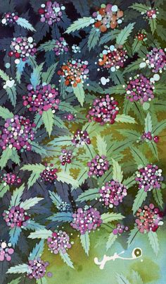 植物イラスト バティック・沈丁花(1)青い葉と藤色の花