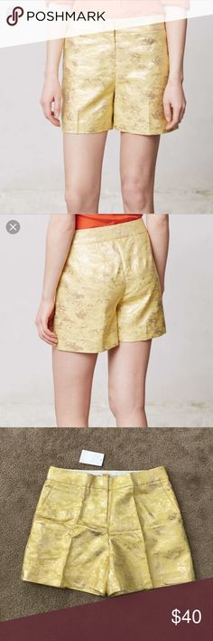 "Anthropologie Leifsdottir Aglitz brocade shorts Gorgeous Anthropologie Leifsdottir ""Aglitz"" yellow gold brocade tailored shorts! Combining a contemporary asthmatic with an appreciation of the past, Leifsdottir looks to Scandinavian history and traditions for inspiration for their expertly tailored pieces. Infused with a passion for art, color and print, their clothing and accessories are designed to captivate & inspire. By Leifsdottir. Front pockets, hook and eye closure. Brand New…"