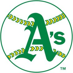 Oakland Athletics Primary Logo (1968) - Green A on a white baseball with green and yellow stitching