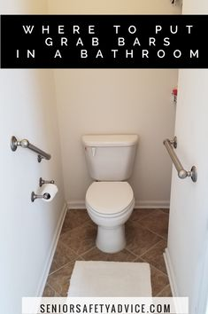 For maximum safety, one or two grab bars should be installed by the toilet, up to three in the shower and / or bathtub and anywhere else in the bathroom where someone would need help to balance themselves or to stand up. Handicap Bathroom, Bathroom Toilets, Downstairs Bathroom, Bathrooms, Master Bathroom, Bathtub Safety Bar, Bathroom Safety, Shower Grab Bar, Grab Bars In Bathroom