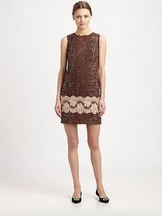 cf93336b8e Brown Dolce   Gabbana - Lace-Trimmed Tweed Dress Tweed Dress