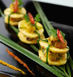 Indian canapes party catering The Saffron House Plaintain canape
