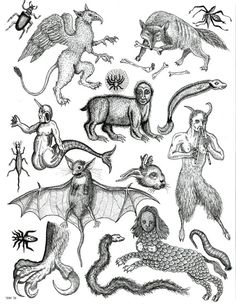 A4 mythical etchings a set of 2 by TristanRitterArt on Etsy