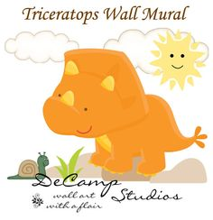 Baby Dinosaur Triceratops Wall Art Mural Decal for girl boy nursery or kids room decor. This baby triceratops sees a snail for the first time. This unique, one of a kind wall mural is high quality with bright vivid colors. Easy to install #decampstudios