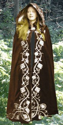Celtic Cloak  A stunning velvet cloak with Celtic knot work along the edges.  Full kinsdale style hood and satin lining. This cloak comes in a variety of colors with Silver, Copper, or Gold metallic thread.  Celtic Cloak.......................$400.00
