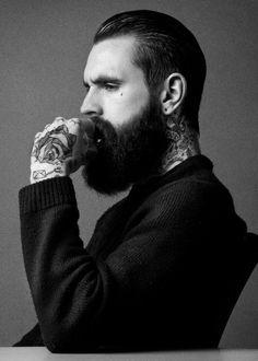 Bad ass beard thinking man