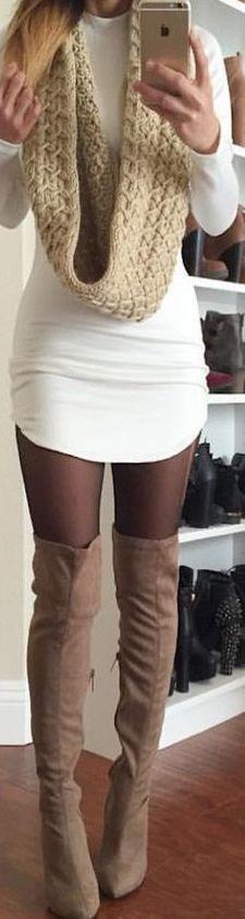 White mini dress with cozy scarf & beige OTK boots.