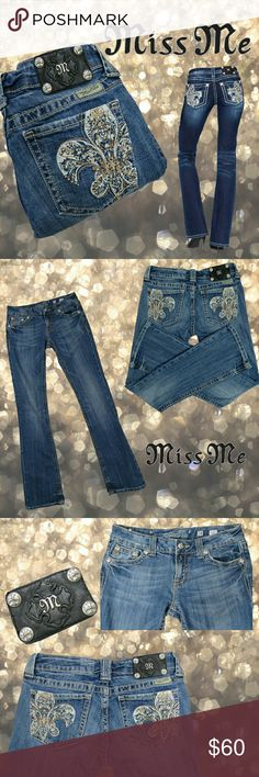 💜 Miss Me Fleur Bootcut jeans 28 x 34 Miss Me Fleur de Lis lowrise bootcut jeans. Gold beads and studs, all fully intact. 34 inch inseam. Color is medium. Excellent condition. Right side of first photo is stock. All others are of actual item for sale, taken by me. More details in last photo. NO TRADES PLEASE! OFFERS WELCOME THROUGH OFFER FEATURE ONLY PLEASE! Miss Me Jeans