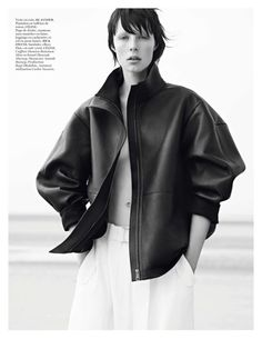Jil Sander jacket and Celine pants  (Edie Campbell by Karim Sadli for Vogue Paris November 2013)