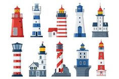 Buy Flat Lighthouses and Sea Guide Lights by krugli on GraphicRiver. Red and blue sea guiding light houses buildings. Sea pharos or beacon collection isola. Lighthouse Art, Adobe Illustrator Tutorials, Home Icon, Inspiration Design, House Drawing, Travel Illustration, Seaside Towns, Seamless Background, Flat Design
