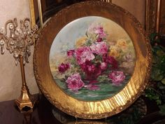 Spectacular HUGE Limoges Framed Plaque Reflecting Pink/Red/Yellow Roses Signed Master Artist J. Brauer