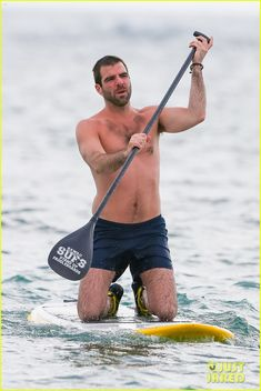 Zachary Quinto Paddleboard in Hawaii